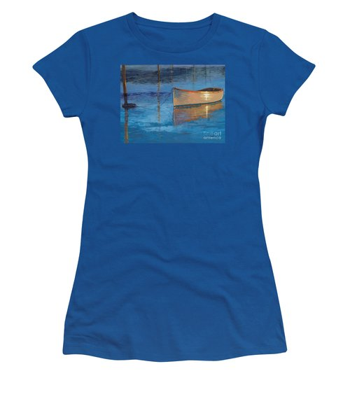 Women's T-Shirt (Junior Cut) featuring the painting Moored In Light-sold by Nancy Parsons