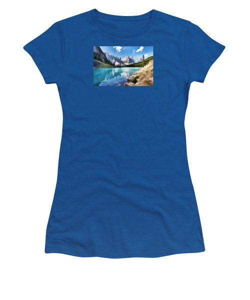 Moraine Lake At Banff National Park Women's T-Shirt (Junior Cut) by Lanjee Chee