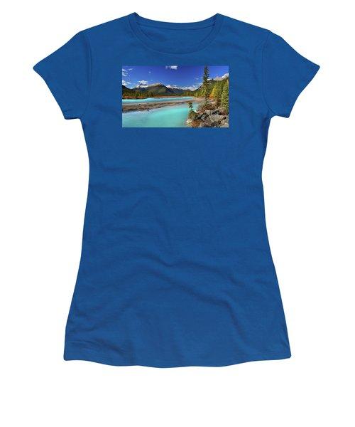 Women's T-Shirt (Junior Cut) featuring the photograph Mount Saskatchewan by John Poon