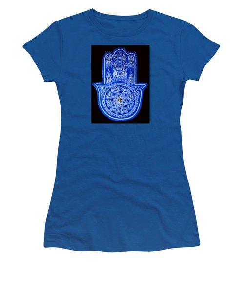 My Blue Hamsa Women's T-Shirt (Junior Cut) by Patricia Arroyo