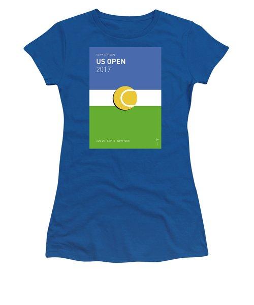 Women's T-Shirt (Junior Cut) featuring the digital art My Grand Slam 04 Us Open 2017 Minimal Poster by Chungkong Art