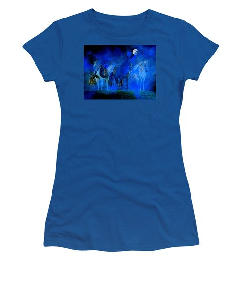 Women's T-Shirt (Athletic Fit) featuring the painting My Whole World Turns Misty Blue by Hanne Lore Koehler