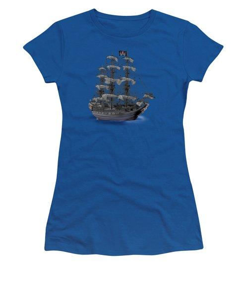 Mystical Moonlit Pirate Ship Women's T-Shirt (Junior Cut) by Glenn Holbrook