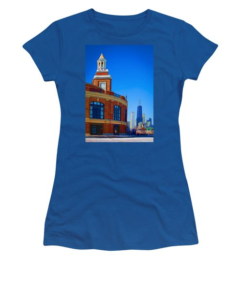 Navy Pier With Texture Women's T-Shirt (Junior Cut) by Kathleen Scanlan