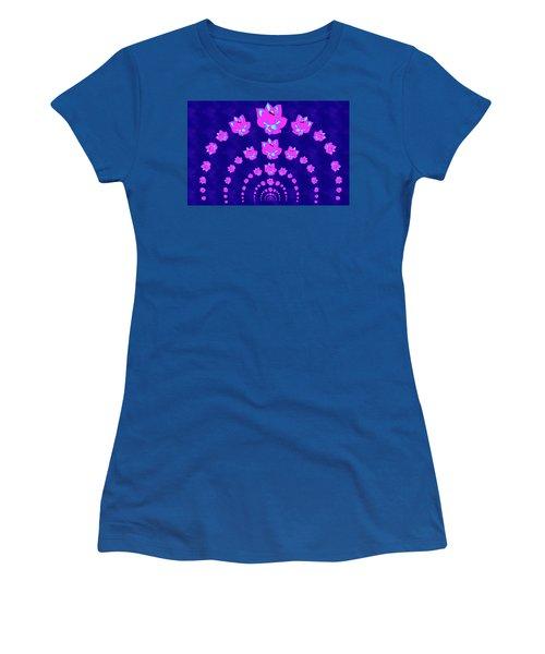 Neon Pink Lotus Arch Women's T-Shirt (Junior Cut) by Samantha Thome