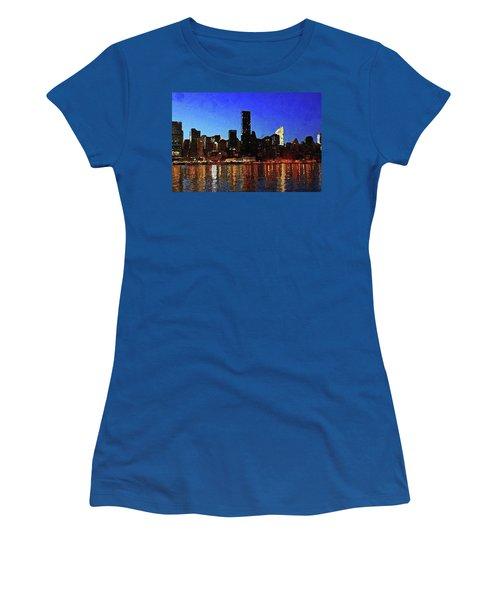 Women's T-Shirt (Athletic Fit) featuring the digital art New York City Night Lights by PixBreak Art