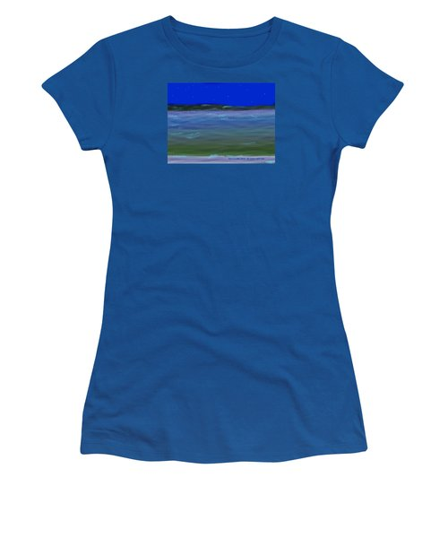 Women's T-Shirt (Junior Cut) featuring the digital art No Moon Night Sea by Dr Loifer Vladimir