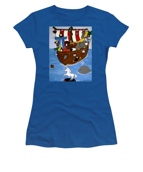 Women's T-Shirt (Junior Cut) featuring the painting Noah's Ark by Stephanie Moore