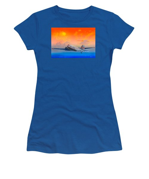 North Central Dc-3 At Sunrise Women's T-Shirt (Junior Cut) by J Griff Griffin