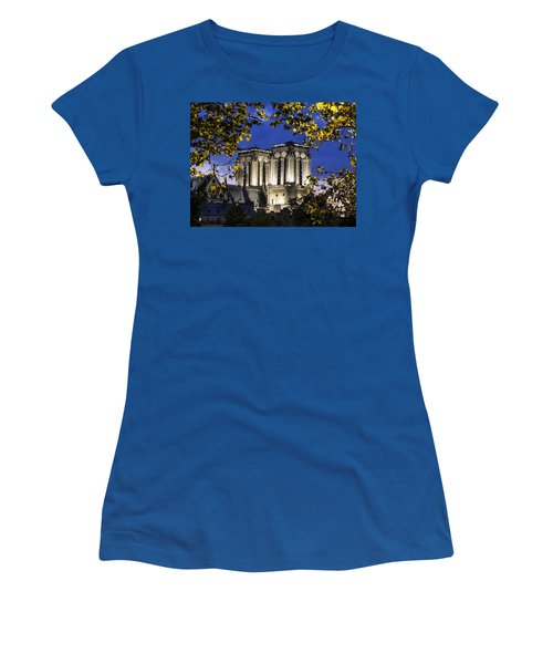 Women's T-Shirt (Junior Cut) featuring the photograph Notre Dame At Night Paris by Sally Ross