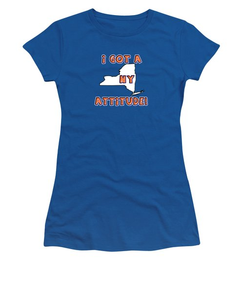 Women's T-Shirt featuring the digital art Ny Attitude-mets Colors by Judy Hall-Folde