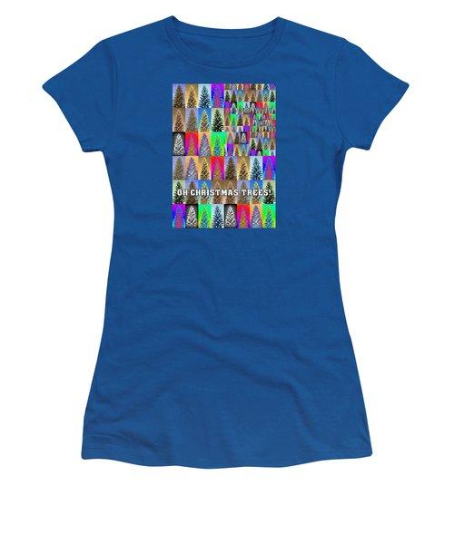 Oh Christmas Trees Women's T-Shirt (Junior Cut) by Jodie Marie Anne Richardson Traugott          aka jm-ART