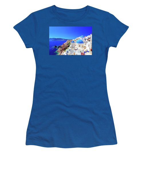 Oia Town On Santorini Island, Greece. Caldera On Aegean Sea. Women's T-Shirt (Athletic Fit)