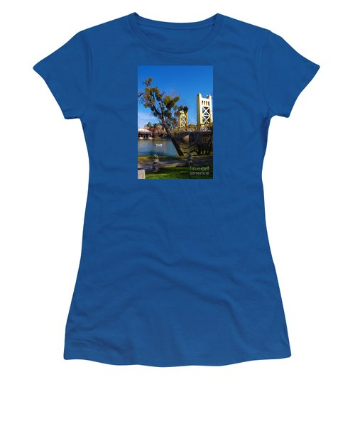 Old Sacramento Tower Bridge Women's T-Shirt (Junior Cut) by Debra Thompson