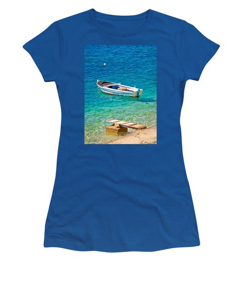 Old Wooden Fishermen Boat On Turquoise Beach Women's T-Shirt (Athletic Fit)