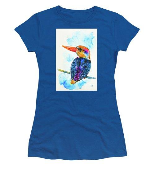 Women's T-Shirt (Athletic Fit) featuring the painting Oriental Dwarf Kingfisher by Zaira Dzhaubaeva