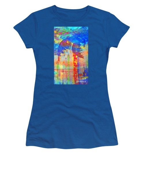 Women's T-Shirt (Junior Cut) featuring the painting Palm Party by Holly Martinson
