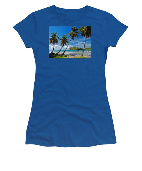 Women's T-Shirt (Junior Cut) featuring the digital art Palm Trees On Sandy Beach by Anthony Fishburne