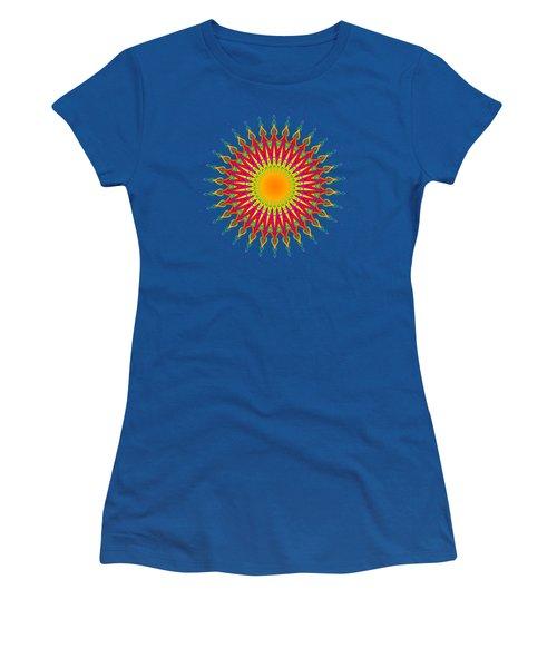 Peacock Sun Mandala Fractal Women's T-Shirt