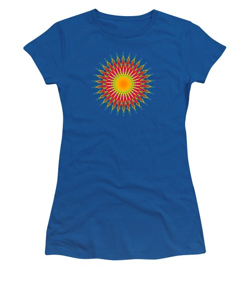 Peacock Sun Mandala Fractal Women's T-Shirt (Athletic Fit)