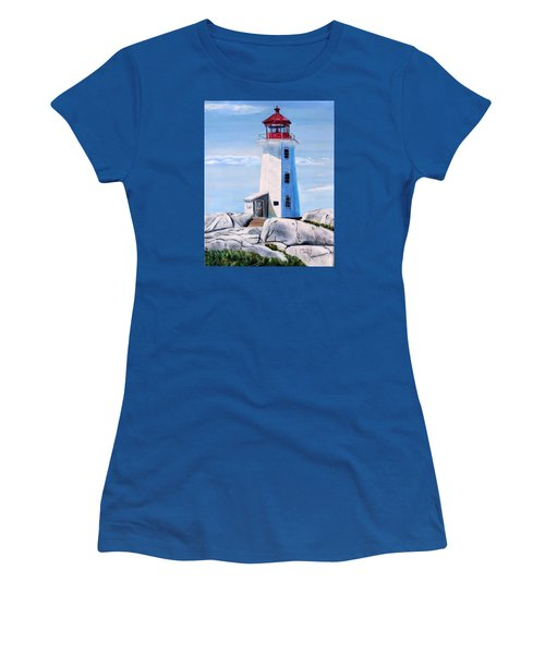 Women's T-Shirt (Junior Cut) featuring the painting Peggy's Cove Lighthouse by Marilyn  McNish