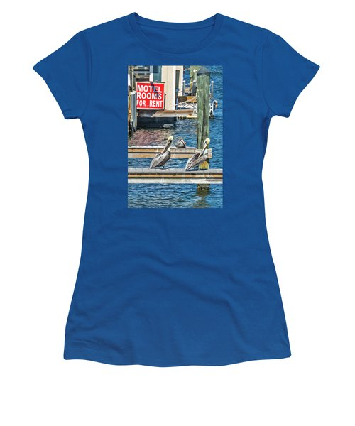 Women's T-Shirt (Athletic Fit) featuring the photograph Pelican Motel by Bob Slitzan