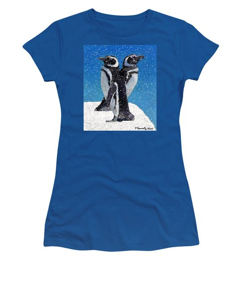 Penguins In The Snow Women's T-Shirt (Junior Cut) by Patricia Barmatz