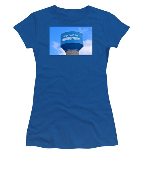Pflugerville Texas - Water Tower Women's T-Shirt (Junior Cut) by Ray Shrewsberry