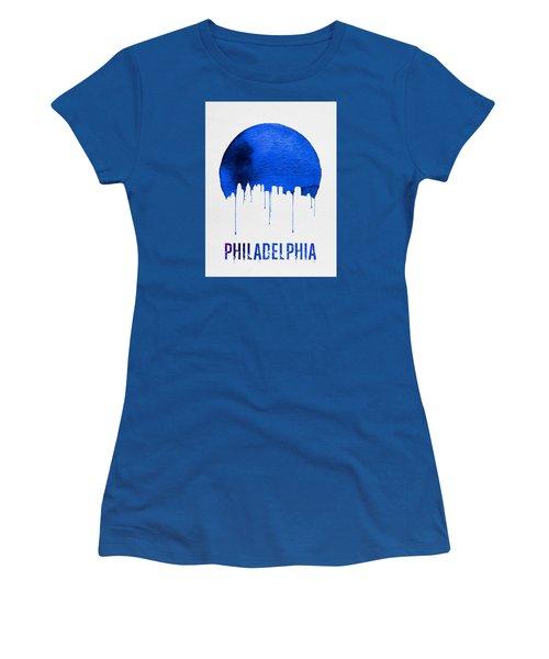 Philadelphia Skyline Blue Women's T-Shirt (Junior Cut) by Naxart Studio