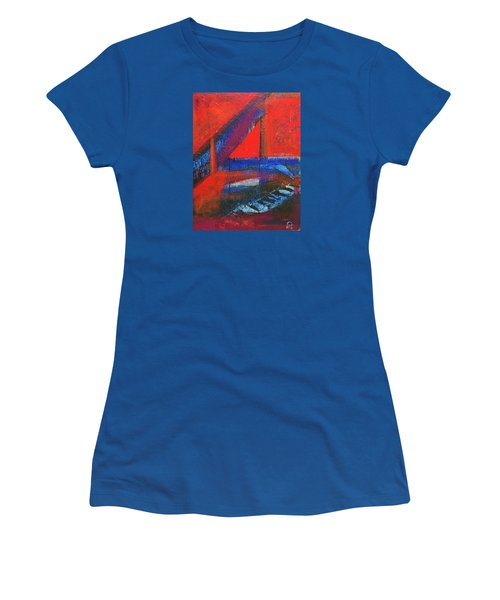 Women's T-Shirt (Junior Cut) featuring the painting Piano In The Red Room by Walter Fahmy
