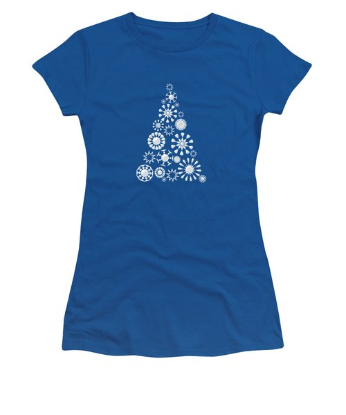 Pine Tree Snowflakes - Dark Blue Women's T-Shirt (Athletic Fit)