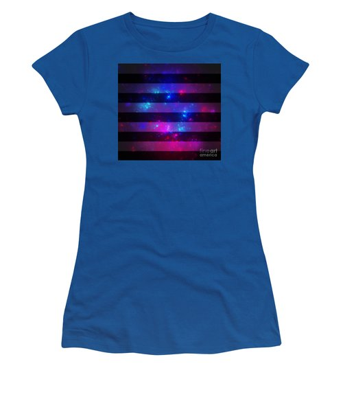 Pink And Blue Striped Galaxy Women's T-Shirt