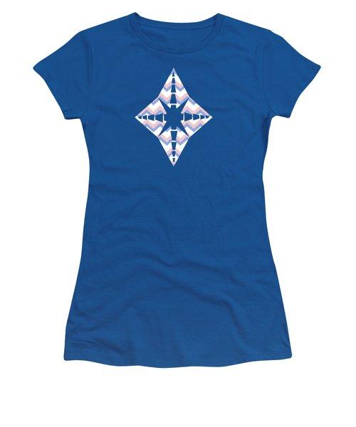 Pink Blue Chevron Pattern Women's T-Shirt