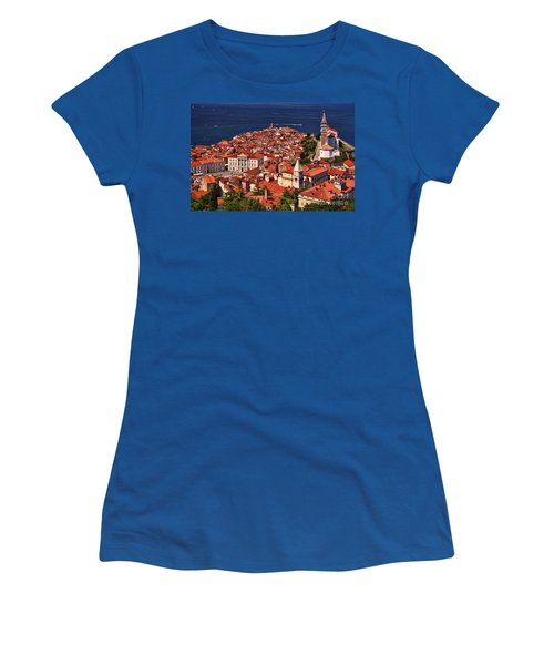 Women's T-Shirt (Junior Cut) featuring the photograph Piran From The Castle Wall by Graham Hawcroft pixsellpix