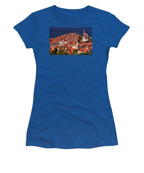 Piran From The Castle Wall Women's T-Shirt (Junior Cut) by Graham Hawcroft pixsellpix
