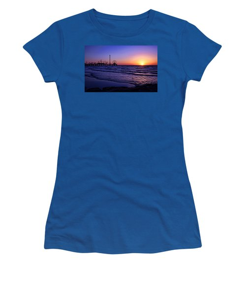 Pleasure Pier Sunrise Women's T-Shirt (Junior Cut) by Judy Vincent