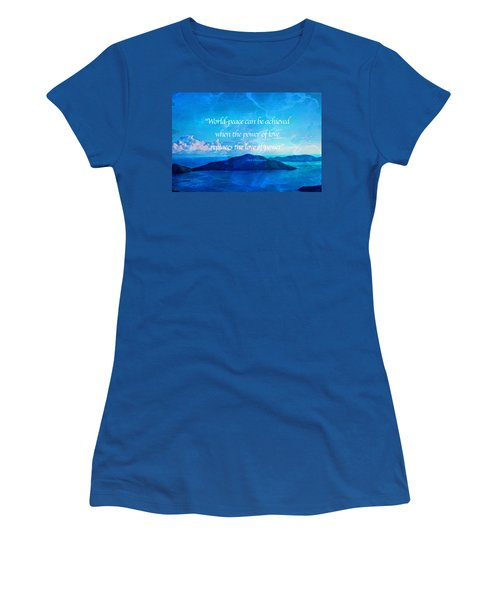 Women's T-Shirt (Athletic Fit) featuring the painting Power Of Love by Joan Reese