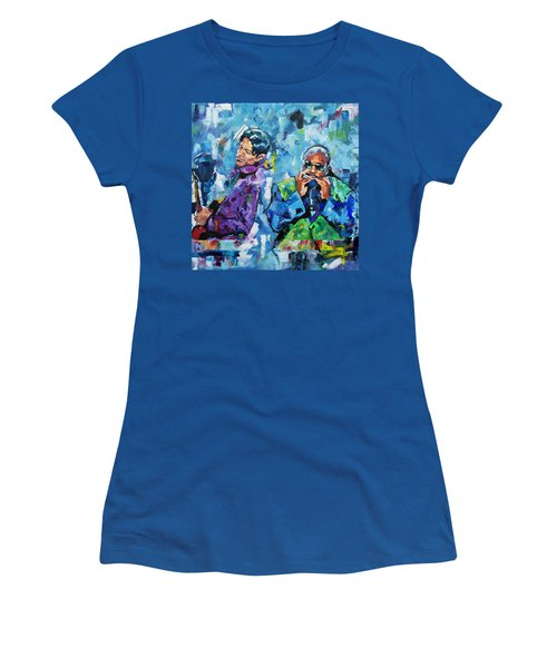 Women's T-Shirt (Junior Cut) featuring the painting Prince And Stevie by Richard Day