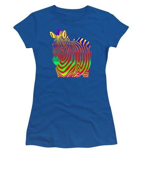 Psychedelic Rainbow Zebra Women's T-Shirt