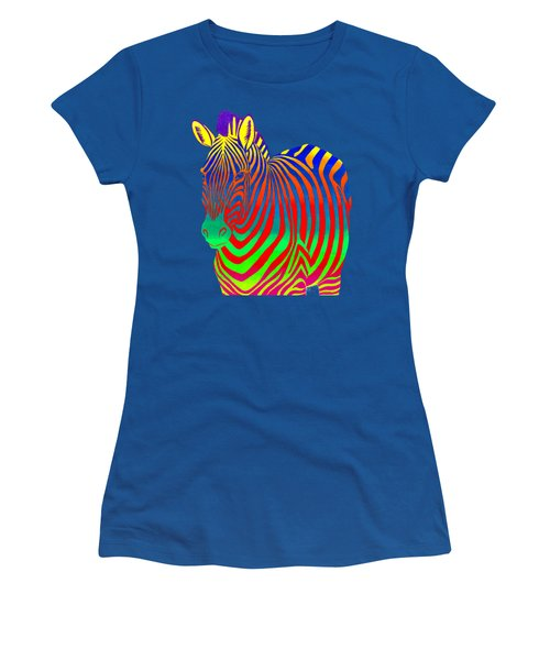 Psychedelic Rainbow Zebra Women's T-Shirt (Athletic Fit)