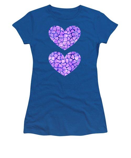 Purple Giraffe Print Women's T-Shirt