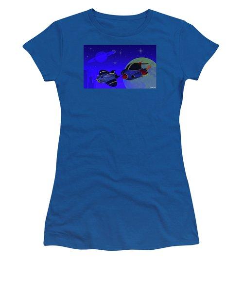Race Thru Space Women's T-Shirt (Athletic Fit)