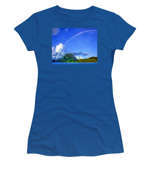 Rainbow Over Bora Bora Women's T-Shirt (Athletic Fit)