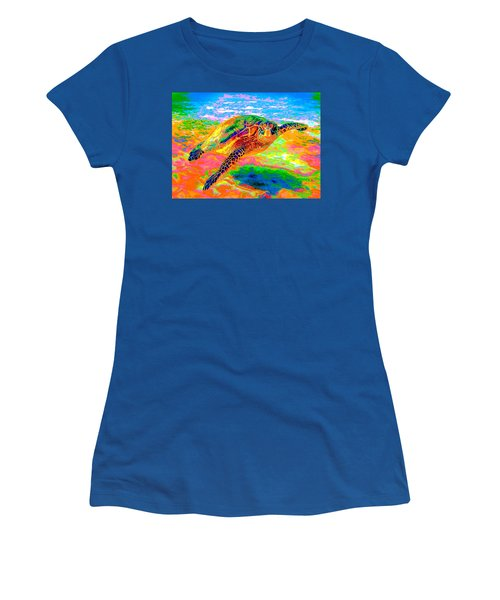 Rainbow Sea Turtle Women's T-Shirt (Athletic Fit)
