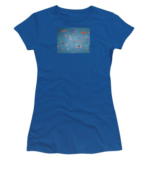 Women's T-Shirt (Junior Cut) featuring the painting Raining Cats And Dogs by Dee Davis