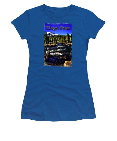 Rapids Along The Tioga Pass Road Women's T-Shirt (Junior Cut) by Roger Passman