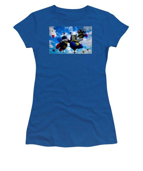 Hot Air Balloon Cheerleaders Women's T-Shirt (Athletic Fit)