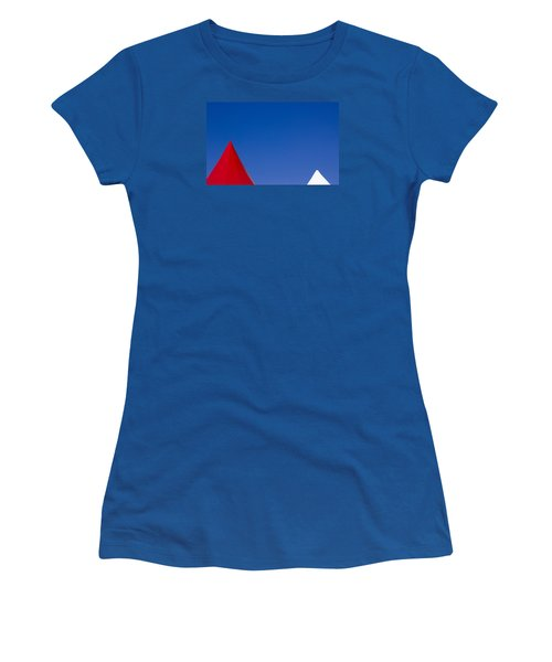 Women's T-Shirt (Junior Cut) featuring the photograph Red And White Triangles by Prakash Ghai