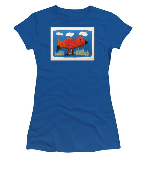 Red Bird In Grass Women's T-Shirt (Athletic Fit)