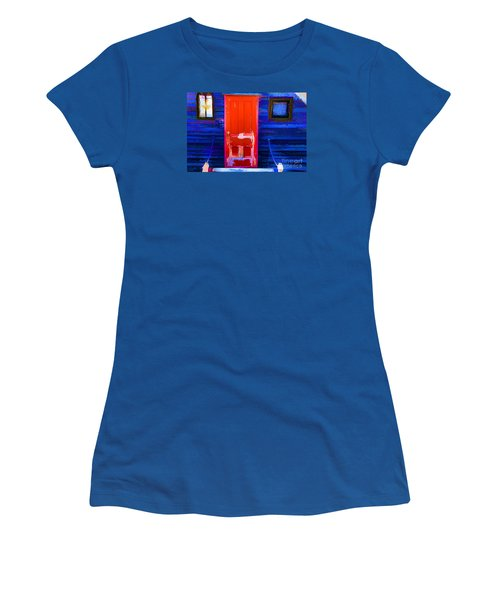 Women's T-Shirt (Junior Cut) featuring the photograph Red Door Harbor by Rick Bragan
